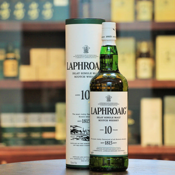 Laphroaig 10 Years 43% Single Malt, A special version of the Laphroaig 10. This is the 750 ml bottled at 43% vs the usual 700 ml bottled at 40%. Embodies the classic Islay characteristics with an increased strength.