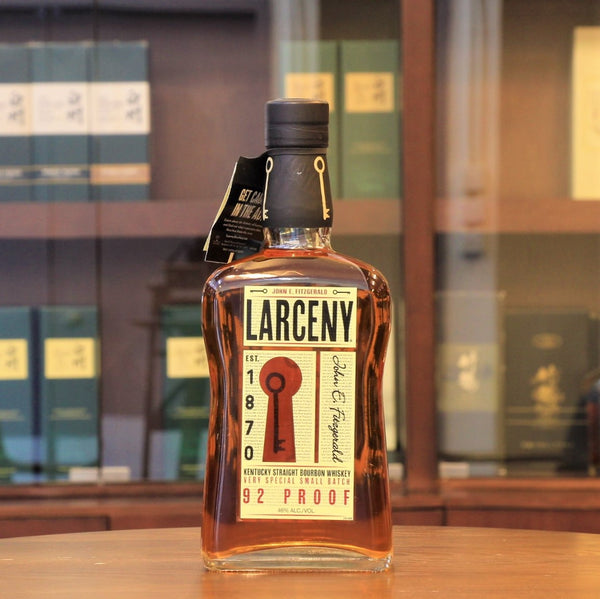 This Larceny Kentucky Straight Bourbon is following the tradition of Old Fitzgerald to use more wheat (instead of rye) as the secondary grain in the mashbill yielding a softer and rounder character. Limited number of barrels in rickhouse are hand-selected by master distiller and vatted as a  special small batch, bottled at 92 proof.