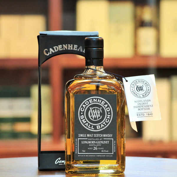 Cadenhead Longmorn-Glenlivet 26 Years Speyside Single Malt Distilled in 1987, matured in bourbon hogsheads, 402 bottles were released in 2013. An old fashioned speyside whisky with spice, toffee and dark fruits with a long finish.