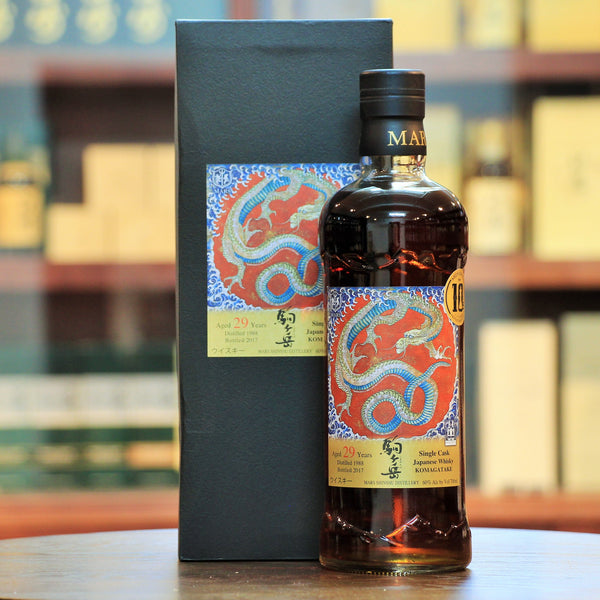 "Mars Komagatake Shinanoya 10th Annv. Single Cask 29 Years, Distilled in 1988 and bottled in 2017. The label features the ""Dragon"" from Shinshu's Hokusai Museum. Bottled exclusively for Shinanoya's 10th Anniversary."
