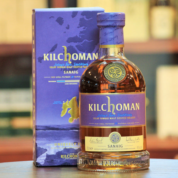 Kilchoman Sanaig Islay Single Malt Whisky, Predominantly Sherry Cask matured, Sanaig was awarded the BEST Single Malt Scotch Whisky -NAS at IWSC 2016