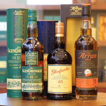 Sherry Cask Single Malt Whisky(GlenDronach, Glenfarclas, Arran) Christmas Set