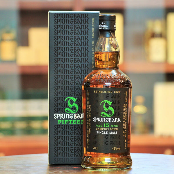 Springbank 15 Years Old Single Malt Whisky (Old Bottling), An older release in about 2008, of the very popular 15 year old single malt from Springbank. This expression is more sherried but balanced with some subtle peat smoke. Fresh ginger, orange peel, salty with spices and lingering finish with hints of tobacco and dark chocolate.