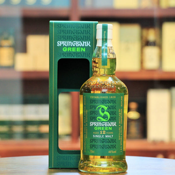 Springbank Green 12 Years Campbeltown Single Malt, Released in late 2014 and produced with organic barley. It is aged entirely in ex-bourbon casks and is bottled at 46% ABV. 9000 bottles were released.