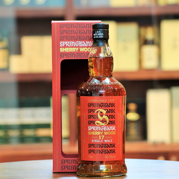 Springbank Red 17 Years Campbeltown Single Malt Whisky, Distilled in 1997 and matured in fresh and refill Sherry Butts and Hogsheads. 9120 bottles were released in 2015.