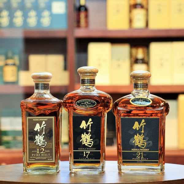 "Nikka Taketsuru Vintage Set Pure Malt Whisky (12,17,21), A vintage set of 3 bottlings aged 12, 17 & 21 years. Comes with their original gift boxes. Boxes are a bit scratched and slightly damaged. Bottlings are sold in ""as is"" condition."