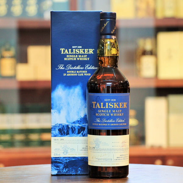 Talisker 2002-2013 Distillers Edition Single Malt Scotch Whisky, This 2002 Distillers Edition of the Talisker single malt Scotch whisky was finished in Amoroso (a sweetened and fortified Spanish wine) casks which adds a rich, juicy character to the usual sea smoke, maritime, smoky single malt.