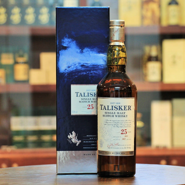 Talisker 25 Years Old Single Malt Whisky 2012 Release, The Talisker 25 is released within Diageo's 'Superpremium' editions and the 2012 release comprised only 6318 bottles. Sweet citrus with vanilla combined with a grassiness along with subtle peat smoke and the signature peppery coastal palate.
