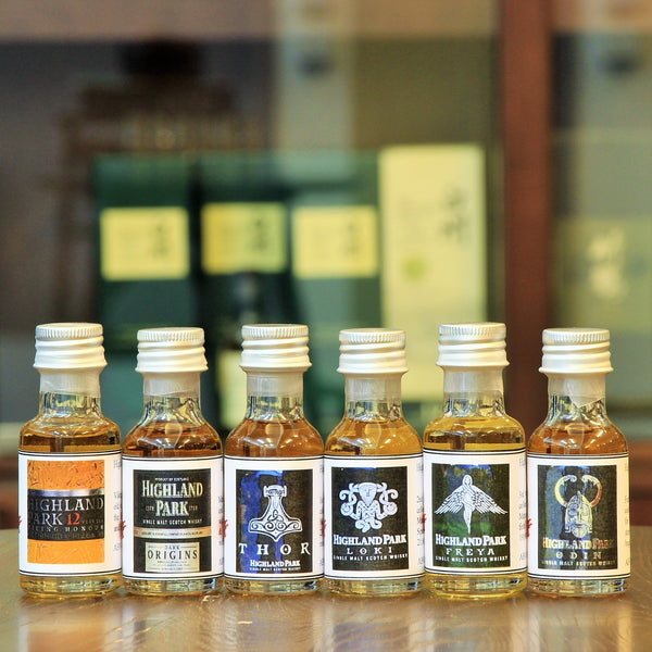 Tasting Gift Set, Highland Park Distillery from Orkney of Scotland. Scotch whisky, collections from Mizunara the shop, Valhalla- Thor, Loki, Freya, Odin