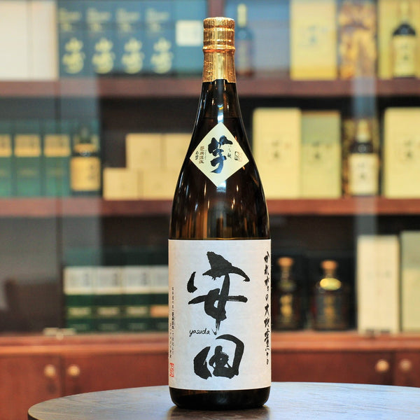 "Yasuda 100% Imo Shochu (Sweet Potato), Japan, Rich aroma of fruits such as lychee, muscat and ripe mango. Mr. Atsushi Yasuda has been awarded  ""Contemporary Master Craft"" recently. He is the one who produces this 100% Imo (Sweet Potato) Shochu. Unlike the others, it does not have any rice malt."