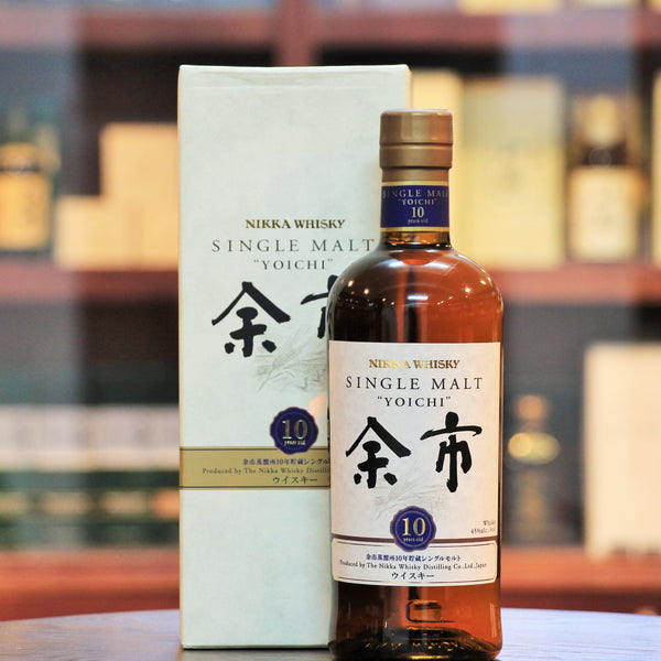 Yoichi 10 Years Old Single Malt Whisky, Discontinued along with other aged statement whiskies from Nikka, this is the youngest of the Yoichi range that was available earlier. using peated malts in direct fired stills, this has been bottled at a higher than usual ABV of 45%.
