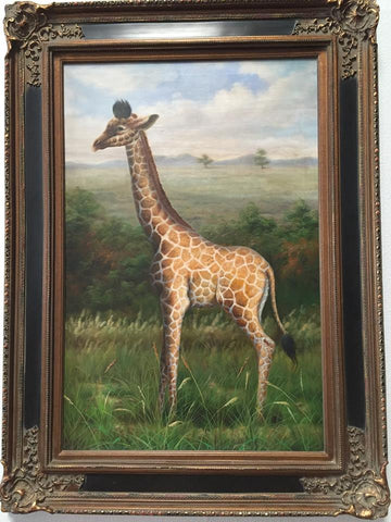 Giraffe African Safari Large Painted Art Black & Gold Framed