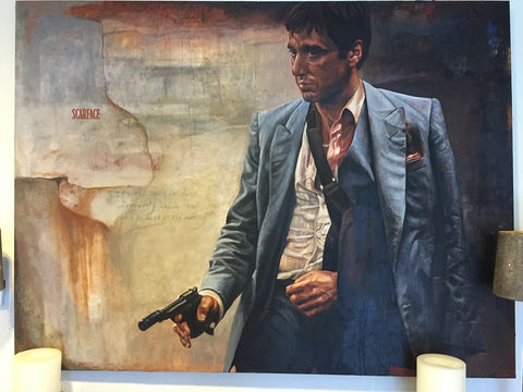 Al Pacino Scarface Original Signed Oil Painting by Stanley Silver