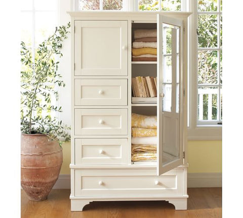 Pottery Barn Cynthia Chiffonier Antique White Armoire