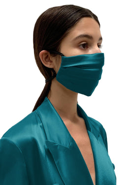 Viridian Green Satin Face Mask