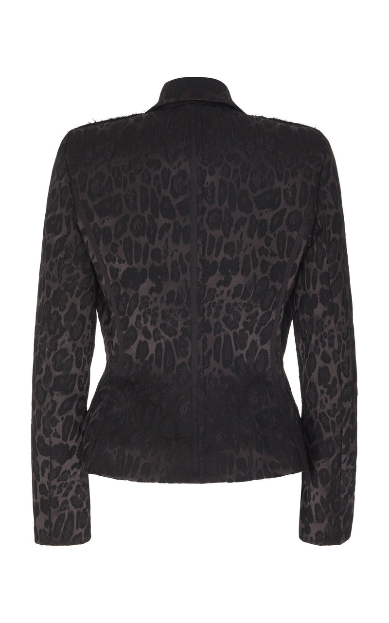 LEOPARD JACQUARD BASQUE JACKET