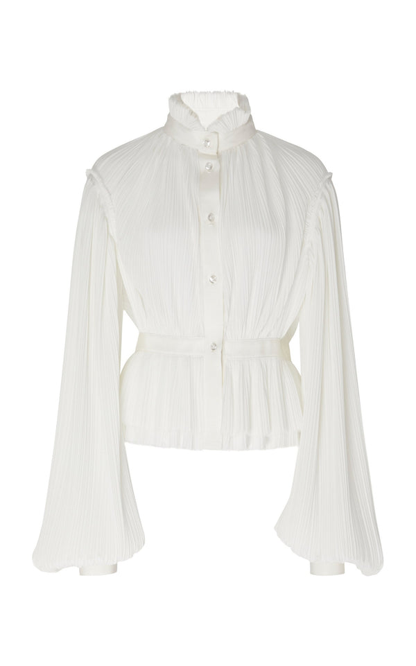 HIGH NECK PLEATED LONG SLEEVE BLOUSE