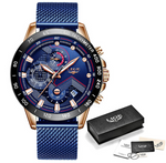 (Rose Gold Blue) LIGE Mens Watches