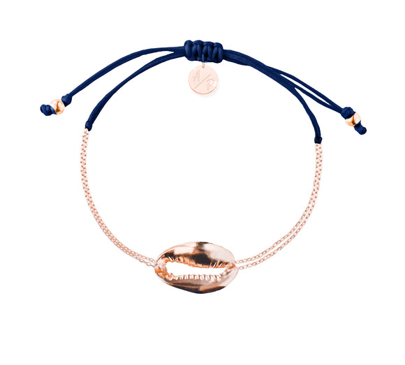 Mini Metal Shell Chain Bracelet - Rose/Navy