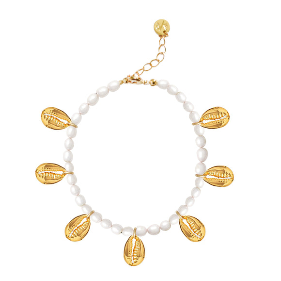 Pearl & Gold Shell Charms Anklet
