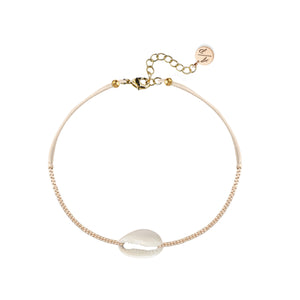Mini Natural Shell 14k Gold Chain Anklet on Colored Cord