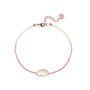 Mini Natural Shell 14k Rose Gold Chain Anklet on Colored Cord