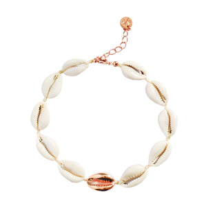 Single Mini Shell Anklet - 14k Rose Gold