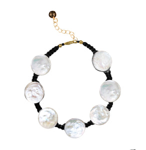 Coin Pearl Anklet on Black Cord