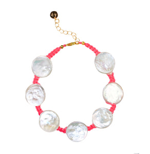 Coin Pearl Anklet on Hot Pink Cord