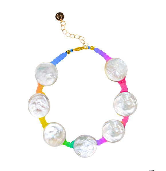 Coin Pearl Anklet on Rainbow Cord