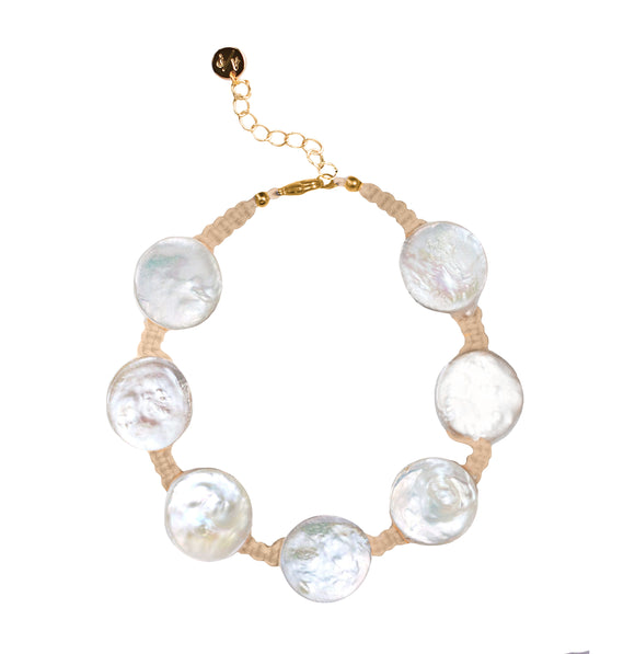 Coin Pearl Anklet on Tan Cord