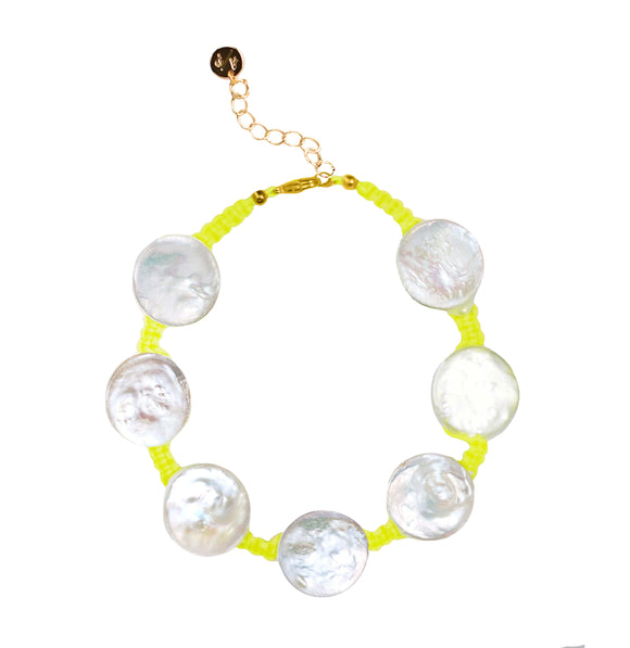 Coin Pearl Anklet on Neon Yellow Cord