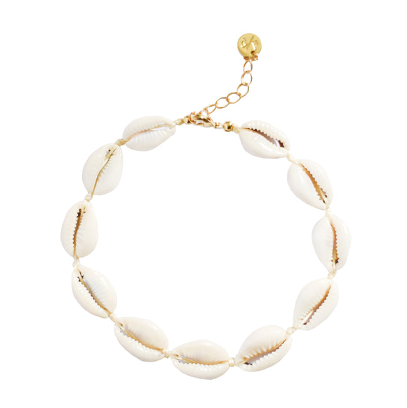 Mini Natural Shell Anklet on Colored Cord