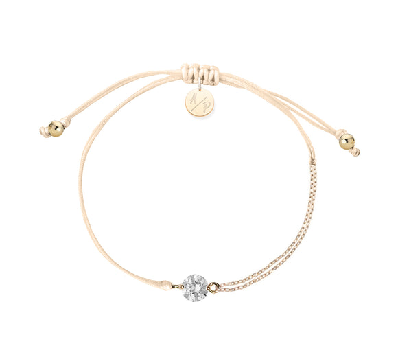 CZ Solitaire Bracelet - Light Peach