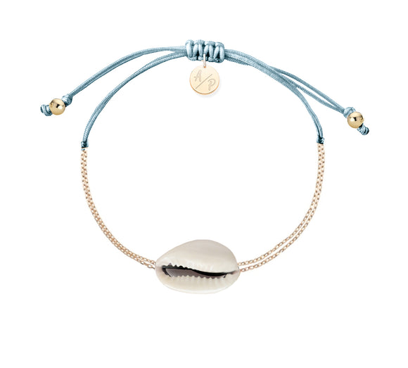 Mini Natural Shell Chain Bracelet - Gold/Bluebell