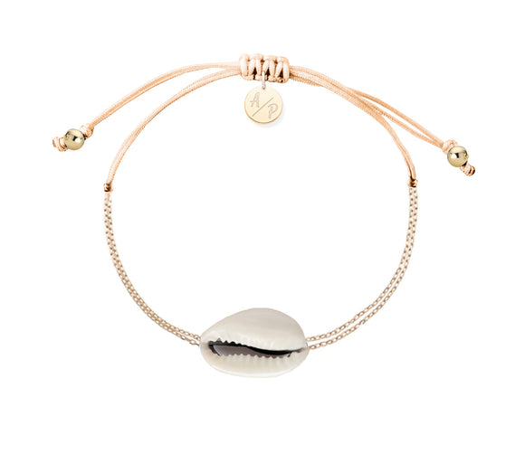Mini Natural Shell Chain Bracelet - Gold/Cantaloupe