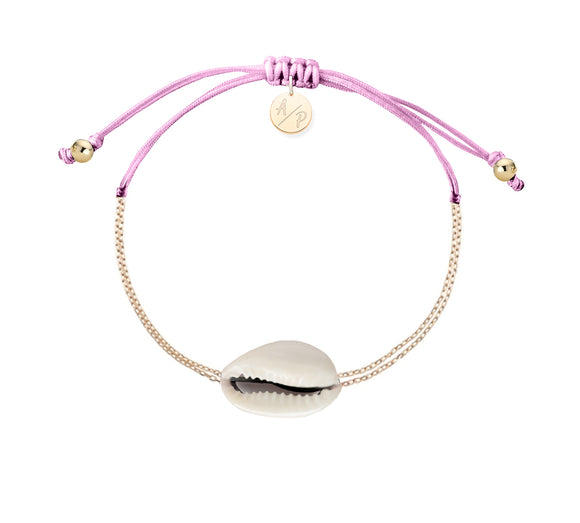Mini Natural Shell Chain Bracelet - Gold/Orchid