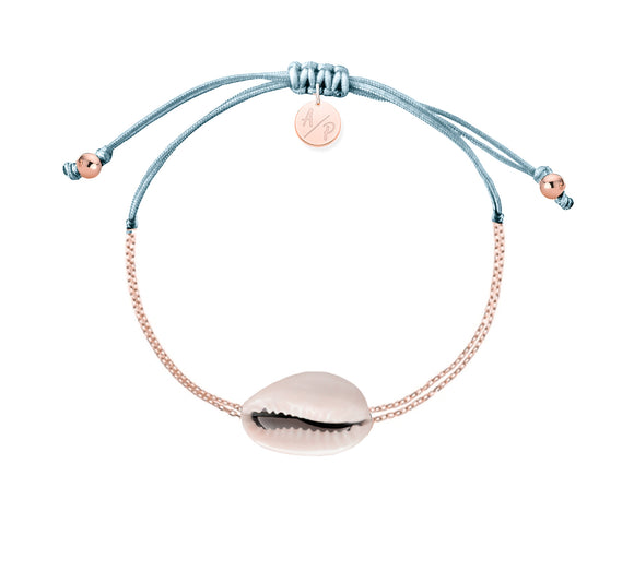 Mini Natural Shell Chain Bracelet - Rose Gold/Bluebell