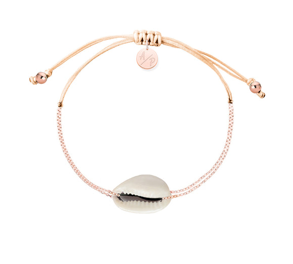 Mini Natural Shell Chain Bracelet - Rose Gold/Cantaloupe