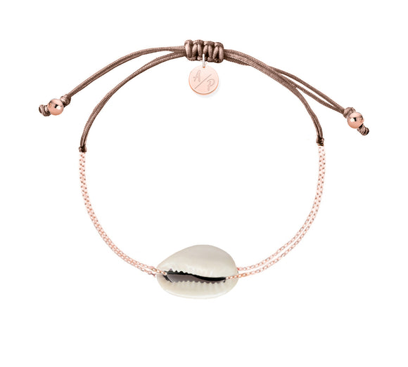 Mini Natural Shell Chain Bracelet - Rose Gold/Cappuccino