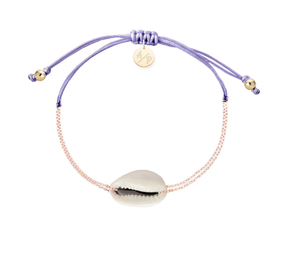 Mini Natural Shell Chain Bracelet - Rose Gold/Lavender