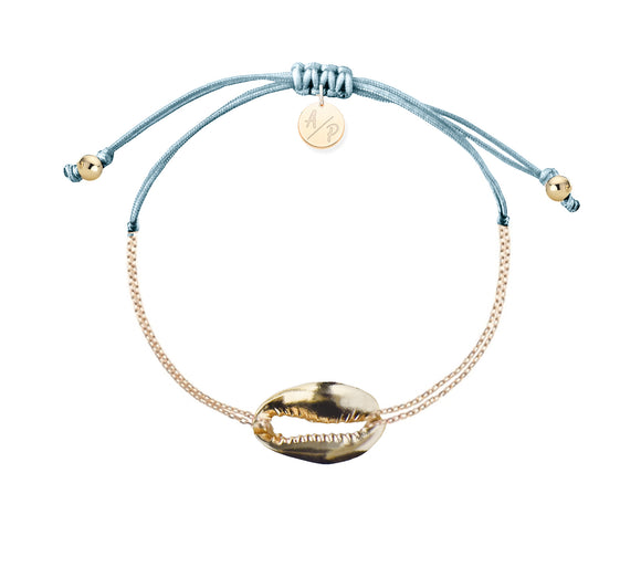 Mini Metal Shell Chain Bracelet - Gold/Bluebell