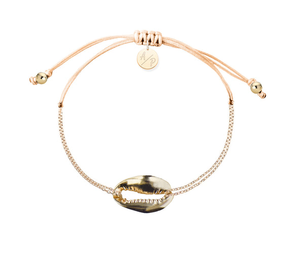 Mini Metal Shell Chain Bracelet - Gold/Cantaloupe