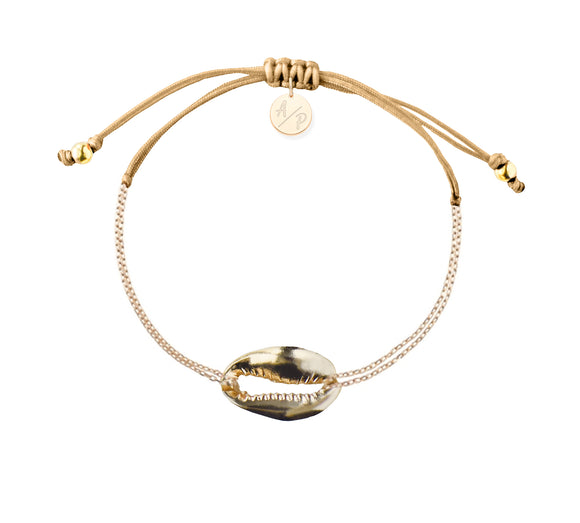 Mini Metal Shell Chain Bracelet - Gold/Caramel