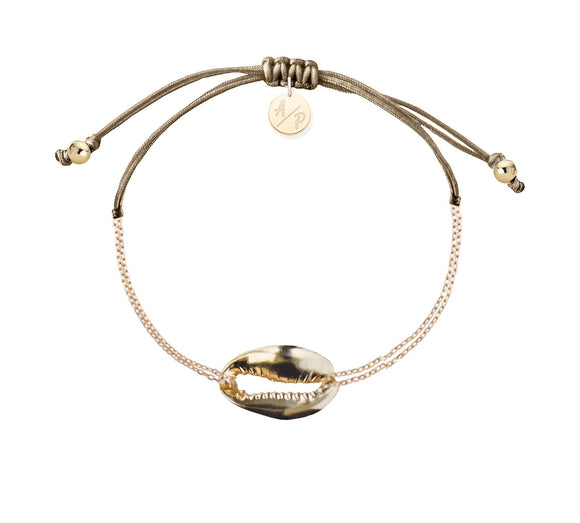 Mini Metal Shell Chain Bracelet - Gold/Cappuccino