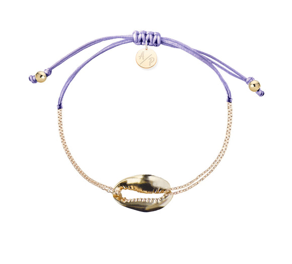 Mini Metal Shell Chain Bracelet - Gold/Lavender
