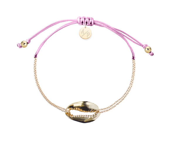 Mini Metal Shell Chain Bracelet - Gold/Orchid