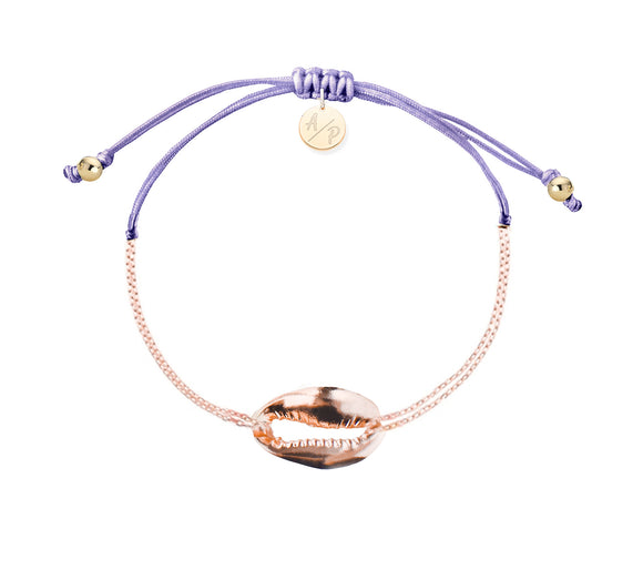 Mini Metal Shell Chain Bracelet - Rose Gold/Lavender