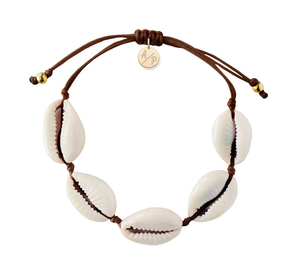 Natural Shell Adjustable Bracelet - Brown