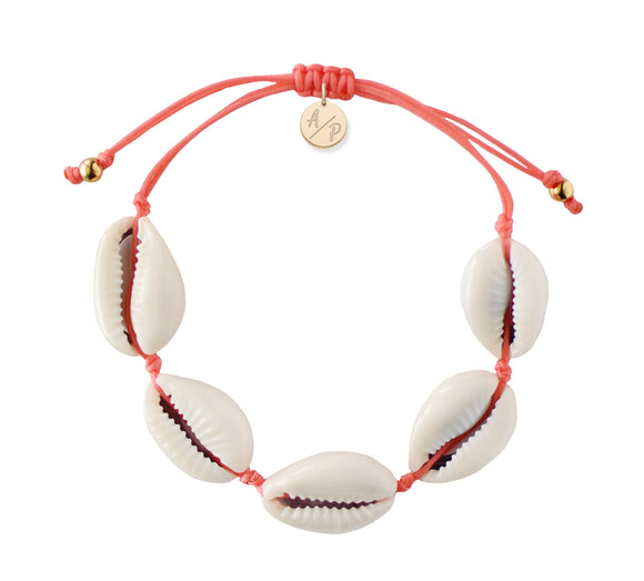 Natural Shell Adjustable Bracelet - Coral